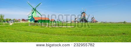 Panorama Of Several Windmills In The Ethnographic Open-air Museum Zaanse Schans, Province Of North H