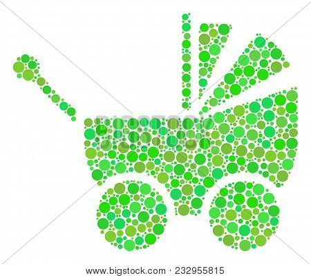 Baby Carriage Collage Of Dots In Different Sizes And Green Color Tones. Vector Round Elements Are Or