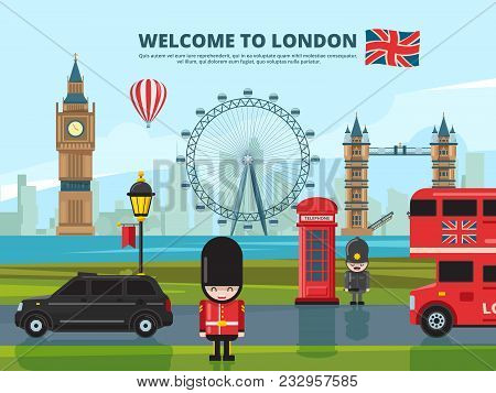 Background Vector Illustration With London Urban Landscape. England And Uk Landmarks. Urban London T