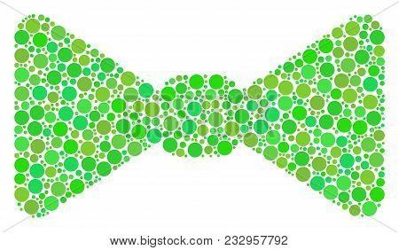 Bow Tie Mosaic Of Filled Circles In Variable Sizes And Green Color Tones. Vector Filled Circles Are