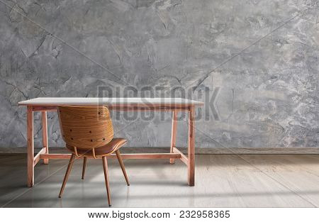 Mock Up Wooden Table And Chair In Empty Room With Concrete Wall,product Display Concept,montage Prod