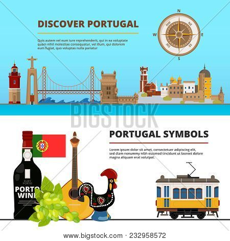Banners Set With Illustrations Of Portuguese Cultural Objects. Vector Portuguese Discover Banner, Po
