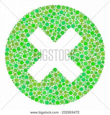 Cancel Mosaic Of Filled Circles In Various Sizes And Green Color Hues. Vector Round Dots Are Combine