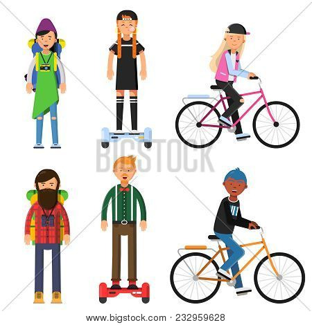 Hipsters Make A Trip. Bicycles Riders. Vector Characters Set. Illustration Of Hipster Rider On Gyros