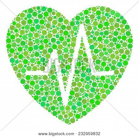 Cardiology Collage Of Filled Circles In Different Sizes And Ecological Green Color Tinges. Vector Fi