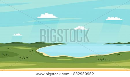 Summer Lake Landscapes. Horizontal Wild Sideview Landscape. Fields, Lakee, Sky With Clouds. Vector I