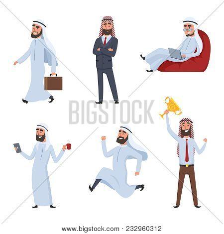 Cartoon Characters Set. Illustrations Of Arabic Businessmen. Vector Arab Saudi Businessman, Characte