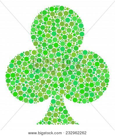 Clubs Suit Mosaic Of Filled Circles In Various Sizes And Fresh Green Color Hues. Vector Dots Are Org