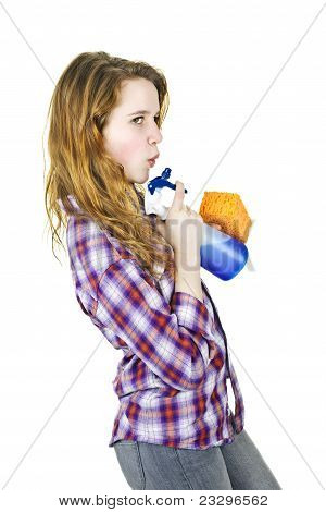 Young Woman With Cleaning Supplies