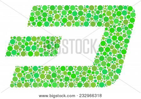 Dash Currency Mosaic Of Circle Elements In Variable Sizes And Fresh Green Color Tints. Vector Round