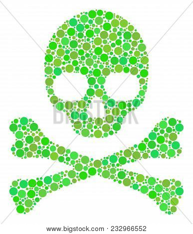 Death Skull Collage Of Filled Circles In Various Sizes And Eco Green Color Tints. Vector Circle Elem