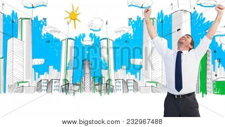 Digital composite of Digital composite image of successful businessman with arms raised in drawn city