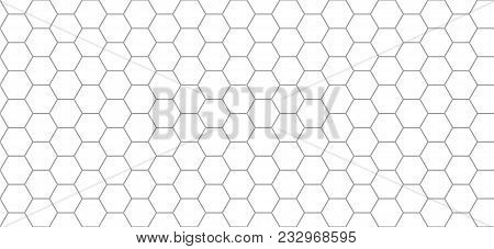 Hexagon Pattern. Seamless Background. Abstract Honeycomb Background In Grey Color. Vector Illustrati