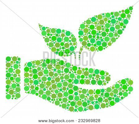 Eco Startup Hand Collage Of Circle Elements In Variable Sizes And Ecological Green Color Tones. Vect