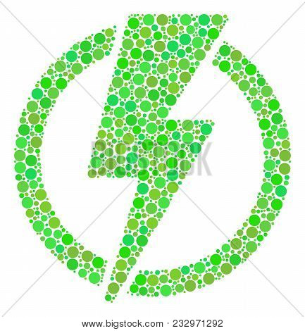 Electricity Collage Of Filled Circles In Variable Sizes And Ecological Green Color Tones. Vector Cir