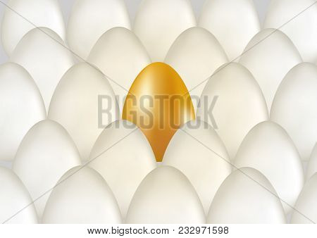 Single Golden Egg Shines Among Ordinary White Eggs. The Concept Of Uniqueness. Rows With Many Eggs B