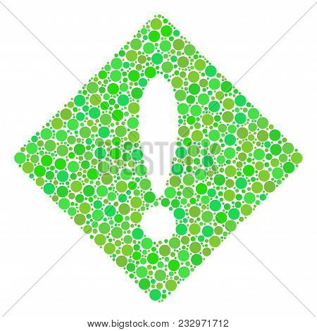 Error Mosaic Of Dots In Different Sizes And Fresh Green Color Hues. Vector Filled Circles Are Combin