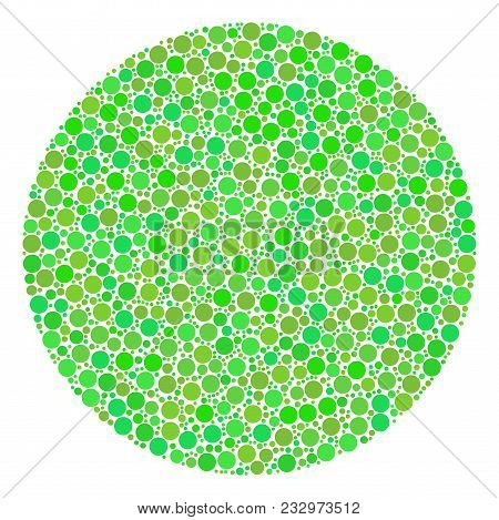 Filled Circle Composition Of Circle Elements In Different Sizes And Ecological Green Color Hues. Vec