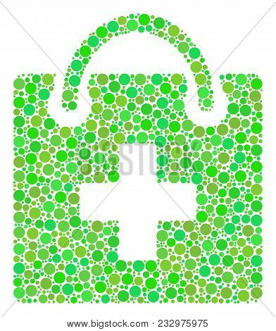 First Aid Kit Mosaic Of Dots In Various Sizes And Ecological Green Shades. Vector Circle Elements Ar