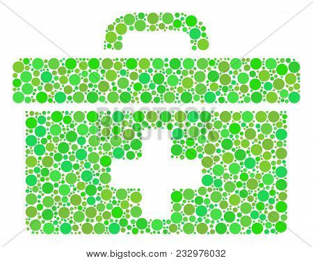 First Aid Toolbox Mosaic Of Circle Elements In Different Sizes And Green Color Tinges. Vector Round