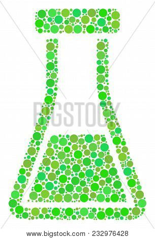 Flask Mosaic Of Dots In Different Sizes And Green Color Tints. Vector Round Dots Are Composed Into F