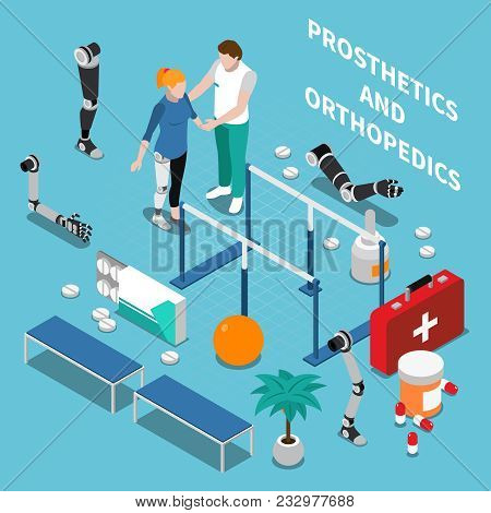 Prosthetics And Orthopedics  Composition With Medicine Symbols On Blue Background Isometric Vector I