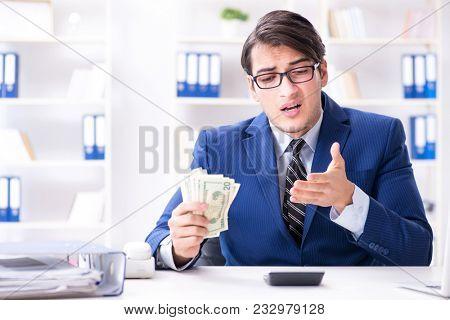 Businessman receiving his salary and bonus poster