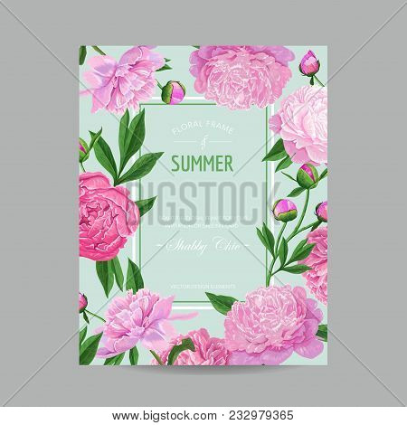 Hello Summer Floral Design With Blooming Pink Peony Flowers. Botanical Background For Poster, Banner