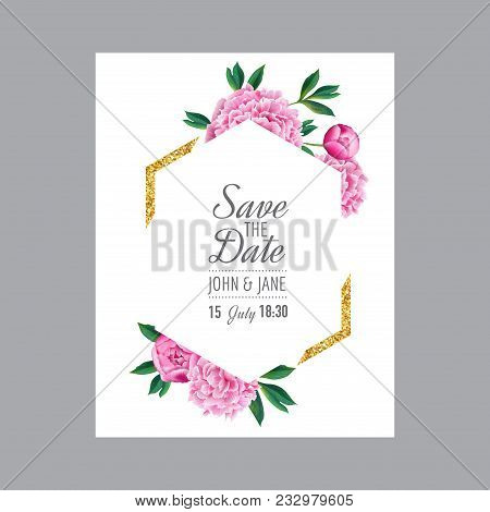 Floral Wedding Invitation. Save The Date Card With Blooming Pink Peony Flowers And Golden Frame. Rom