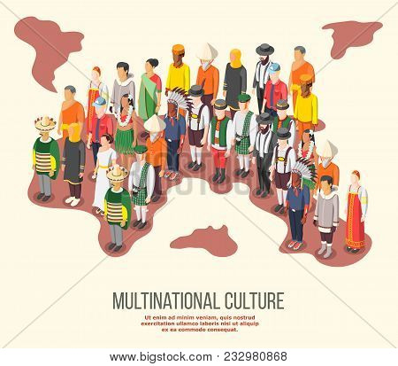 Multinational Culture Isometric Composition With People Of Different Races And Nationalities In Folk