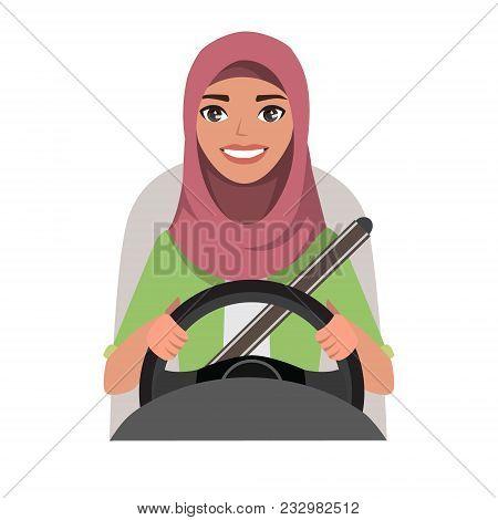 Muslim Woman Driving A Car. Muslim Woman Wearing Hijab. Vector Cartoon Character