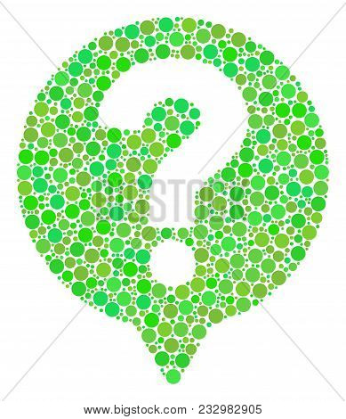 Help Balloon Mosaic Of Circle Elements In Variable Sizes And Ecological Green Shades. Vector Dots Ar