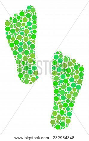 Human Footprints Collage Of Filled Circles In Various Sizes And Ecological Green Color Tones. Vector