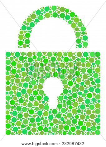 Lock Mosaic Of Dots In Variable Sizes And Green Color Tints. Vector Circle Elements Are Organized In
