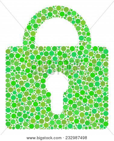 Lock Mosaic Of Filled Circles In Various Sizes And Fresh Green Color Tinges. Vector Round Elements A
