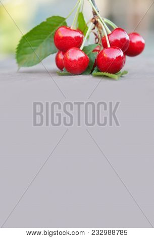 Summer Fruits Harvest Concept. Red Cherries Berry Green Leaf Close-up. Beige Background Copy Space.