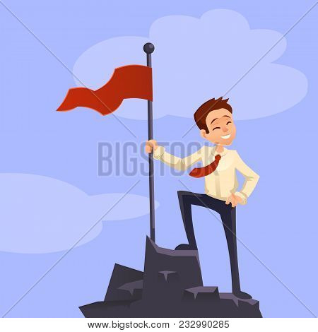 Successfull Mission. Businessman Standing With Red Flag On Mountain Peak. Goal Achievement. Put Flag