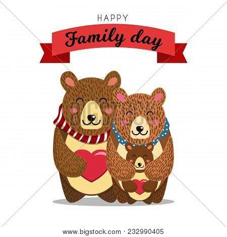 Cute bears family. Daddy Bear hugs Mommy bear and their Baby Bear. Good for Family day, Fathers Day, Mothers Day or Birthday greetings. Vector illustration. poster