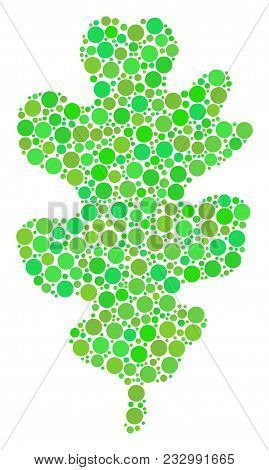 Oak Leaf Composition Of Filled Circles In Variable Sizes And Eco Green Color Tints. Vector Dots Are