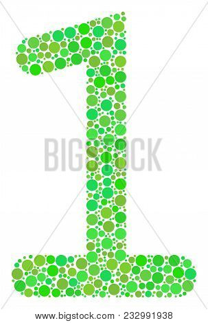 One Digit Collage Of Dots In Various Sizes And Eco Green Color Hues. Vector Circle Elements Are Grou