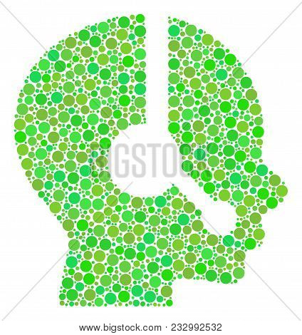 Operator Composition Of Dots In Different Sizes And Ecological Green Color Tints. Vector Round Dots