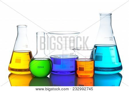 Laboratory Glassware Set With Color Liquid And Reflection. Isolated On White Background