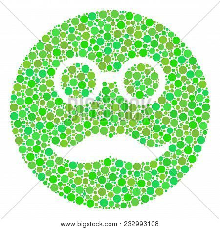 Pension Smiley Mosaic Of Filled Circles In Various Sizes And Green Shades. Vector Filled Circles Are