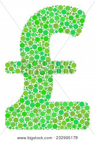 Pound Sterling Composition Of Filled Circles In Variable Sizes And Eco Green Color Tones. Vector Fil