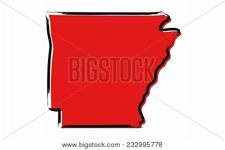 Stylized Red Sketch Map Of Arkansas Illustration Vector