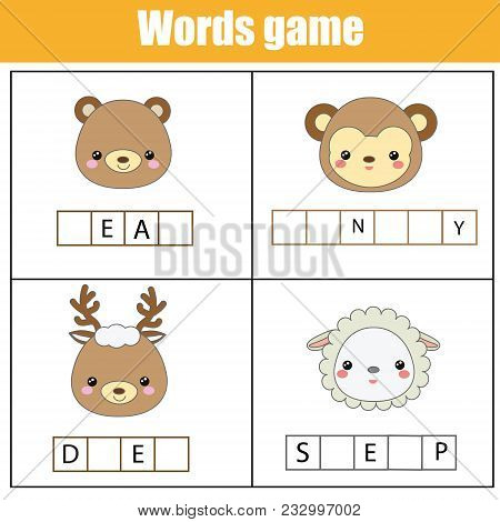 Educational Children Game. Complete The Words Kids Activity. Animals Theme. Learning Vocabulary. Wor