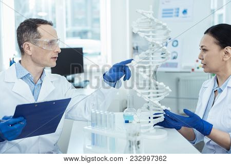 Microbiology Trick. Experienced Researchers Looking At Dna Model In A Lab