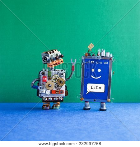 Friendly Mobile Smartphone Gadget Robot Assistant. Funny Robotic Toy Character, Creative Design Touc