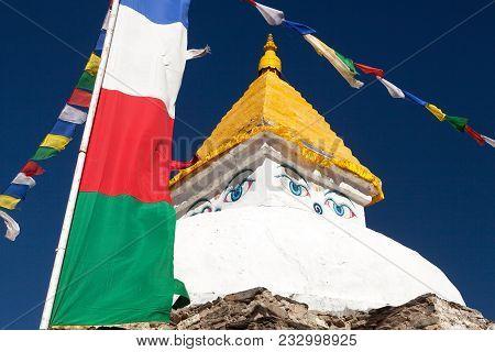 Stupa Near Dingboche Village With Prayer Flags - Way To Mount Everest Base Camp - Khumbu Valley - Ne