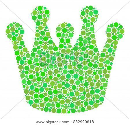 Royal Collage Of Dots In Various Sizes And Ecological Green Color Tints. Vector Dots Are Grouped Int